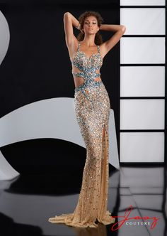 Stunning stoned stretch sexy dress with beaded cutouts and straps, front slit flowing train, dazzlingly intricate back.