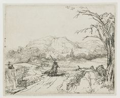 Rembrandt van Rijn : The Sportsman (also known as Landscape with a Shepherd and a Dog) (Rijksmuseum Amsterdam) レンブラント・ファン・レイン Rembrandt Etchings, Rembrandt Drawings, Rembrandt Art, Landscape Drawings, Art Drawings, Dutch Painters, Dutch Artists, Old Master, Gravure