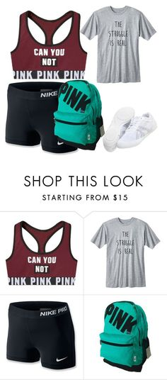 cheer outfit by littleminyon58 ❤ liked on Polyvore featuring NIKE and Asics