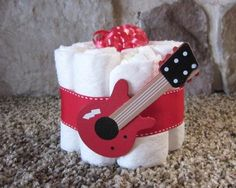 Baby guitar Mini diaper cake decoration baby shower by TMLcreates, $7.25