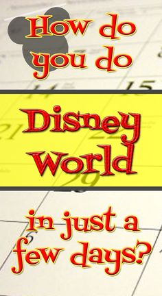 Tips & ideas for what to do if you don't have a whole week to spend @ Disney World