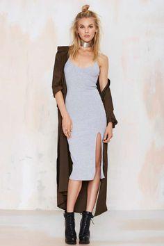 Nasty Gal Wild World Ribbed Tank Dress - Gray | Shop Clothes at Nasty Gal!
