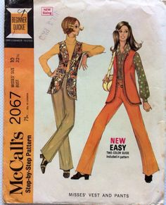 1960s hippie style pants and longline vest McCalls 2067 vintage sewing pattern Petite Bust 32.5 Waist 24 Hip 33.5 Retro 60s boho chic style by 101VintagePatterns on Etsy