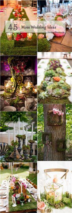45 Moss Decor Ideas for A Nature Wedding Elvish Wedding, Deer Wedding, Woodland Wedding, Wedding Table, Rustic Wedding, Wedding Flowers, Hobbit Wedding, Wedding Greenery, Moss Centerpiece Wedding