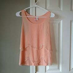 Beautiful Racerback Tank Top Beautiful racerback peach colored tank with shear scalloped from with sequined/beaded detailing. 6 Degrees Tops Tank Tops