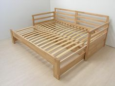 Wooden Sofa Day Bed Frame w/ Foldable Trundle WhiteDIY Camper Couch/Bed with storage. Folding Furniture, Space Saving Furniture, Pallet Furniture, Furniture Projects, Furniture Plans, Furniture Design, Furniture Nyc, Furniture Stores, Diy Sofa