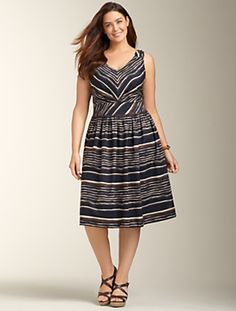 "Exotic Stripe Dress $179 at talbots.com.  This dress seems very ""Roman Holiday"" to me.  How cute would it be with red wedges?"