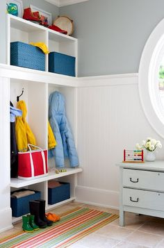 Utilize baskets in your mudroom to store sports gear and seasonal clothing.