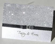 New wedding invitations diy glitter silver black tie Ideas Honey Wedding Favors, Wedding Anniversary Invitations, Glitter Wedding Invitations, Diy Invitations, Invitations Online, 25th Anniversary, Bling Wedding, Wedding Ties, Wedding Cards