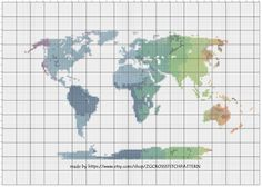 BOGO Cross Stitch Pattern World Map Silhouette Watercolor