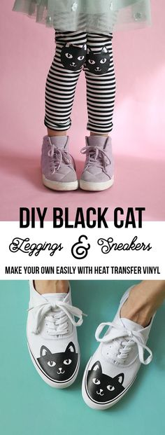 make your own black cat leggings and sneakers easily with heat transfer vinyl and your silhouette - free cut file and instructions on how to make your own - DIY cat shoes, DIY cat knee leggings make a cute Halloween outfit too!