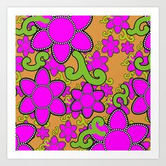 Gail's Hot Pink Flower Art Print by JeweledFrogCreations - $18.72