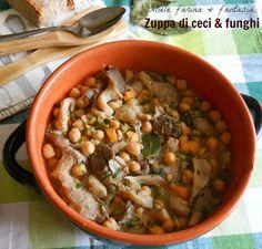 Zuppa di ceci con funghi e zucchine