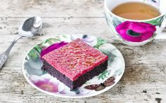 Rich and fudgy black bean brownies are topped with a raspberry brulée topping and torched until caramelized and crunchy.