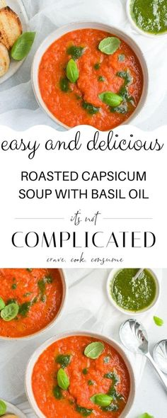 My Roasted Red Pepper Soup (Roasted Capsicum Soup) with Basil Oil is so comforting to eat, and full of vibrant flavours. The delicious combination of red peppers, tomato and onion roasted to perfection offers a delightfully sweet and comforting taste. #roastedredpeppersoup #roastedcapsicumsoup #capsicumrecipes #redpepperrecipes #easysouprecipes #vegansouprecipes #cravecookconsume #itsnotcomplicatedrecipes Dinner Party Recipes, Appetizer Recipes, Savoury Recipes, Lunch Recipes, Salad Recipes, Capsicum Recipes, Red Pepper Recipes, Roasted Capsicum, Roasted Red Pepper Soup