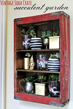 Vintage soda crate turned into a kitchen shelf for a