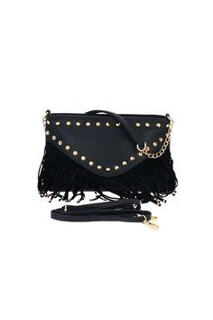 Petit sac indien frange et clous noir - Zonedachat Fashion, Pouch, Purse, Fringe Coats, Spikes, Indian, Bags, Black People, Moda