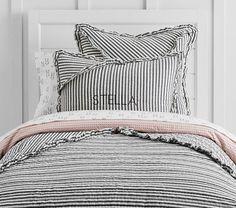 The Emily & Meritt Ruffle Stripe Quilted Bedding #pbkids