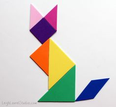 Sitting fox tangram - a leigh laurel studios tutorial for sizzix - how to make a magnetic craft foam tangram puzzle Foam Crafts, Craft Foam, Paper Crafts, Hand Crafts For Kids, Art For Kids, Crafty Projects, Projects For Kids, Tangram Puzzles, Autism Learning