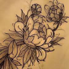 Resultado de imagen de peony tattoo draw