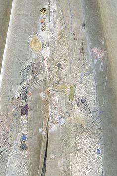 beautiful stitch work on fabric, fiber art, textile designer
