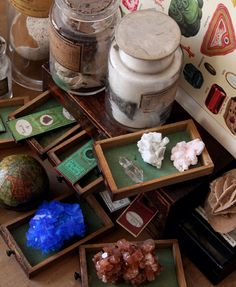 Curiosity Cabinet Finds, crystals and mysterious jars.