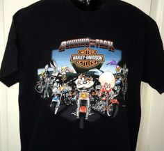 Harley-Davidson-Mens-T-Shirt-Large-Looney-Tunes-Taz-Bunny-Sam-Running-Pack-Wyle