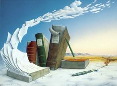 """""""der abwesende dichter"""" by joachim lehrer, surreal art of books turning into clouds in a fantastic landscape"""