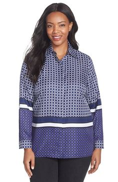 MICHAEL Michael Kors 'Durie' Border Print Shirt (Plus Size) available at #Nordstrom