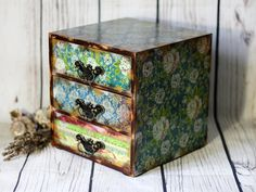 Shabby Blue Gipsy Hippie Mini wooden chest drawers apothecary