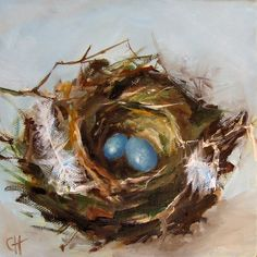 Nest Painting Bird Nest Print on Canvas 5x5 by ArtPaperGarden, $15.00