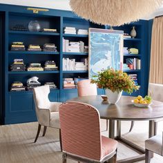 Cobalt blue library in a Park Avenue apartment designed by Eliza Dyson