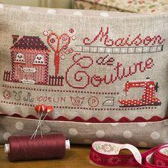 Red and white polka dot sewing machine