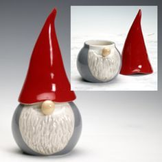 pretty blue bottom bright green or yellow top or similar contrast -- simple hat like this for double pinch pot project Tomte bowl from Hemslojd --For my sister-- Christmas Clay, Christmas Crafts, Christmas Decorations, Christmas Ornaments, Ceramics Projects, Clay Projects, Clay Crafts, Ceramic Clay, Ceramic Pottery