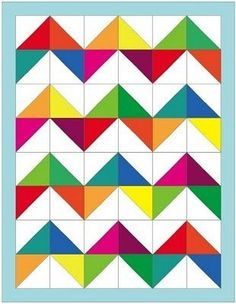 Motifs Granny Square, Half Square Triangle Quilts, Quilting Projects, Quilting Designs, Sewing Projects, Quilt Block Patterns, Quilt Blocks, Rainbow Quilt, Chevron Quilt