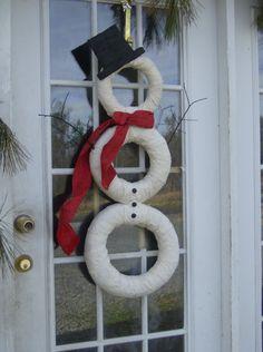 Serene Village  Cute Handmade Snowman Wreath  by SereneVillage, $55.00