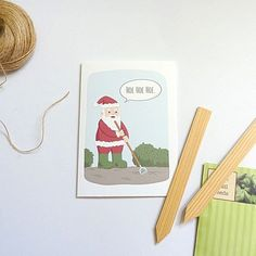 Hoe hoe hoe! This funny gardening Santa Christmas card is ideal for gardeners and green fingered friends.