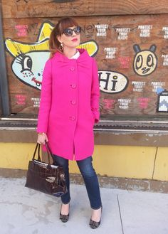 Pink Coat: Kate Spade NY Bag: Kate Spade NY Jeans: Arizona Heels: JCREW Sunnies: Franco Sarto Cortneybre...