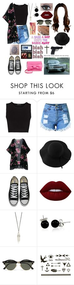 """Untitled #511"" by skh-siera18 ❤ liked on Polyvore featuring MANGO, Topshop, Sans Souci, Converse, Lime Crime, Bling Jewelry, Ray-Ban, Kate Spade and All Black"