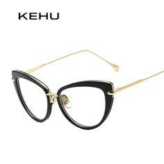 a51481b4b8 KEHU Women Vintage Cat Eye Glasses Brand Designer Metal Frame Women  Eyeglasse H1790-1