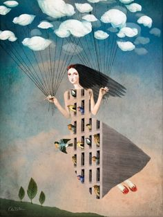 Bird House by Catrin Welz-Stein a German Graphic Designer living in Malaysia. She creates amazing surreal illustrations from vintage photos