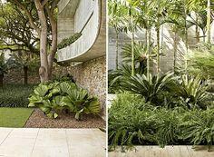 Fachada: a grama esmeralda, os seixos rolados na base das palmeiras-leque, o concreto e as pedras que compõem o muro formam uma mistura de t...