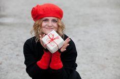 Felt hat beret merino wool red color warm woman by woolDesign