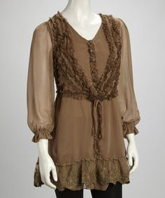 Look what I found on #zulily! Brown Lace Ruffle Button Silk-Blend Layered Tunic by Pretty Angel #zulilyfinds