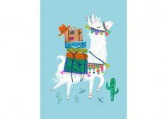 Postkarte Rebecca Jones 'Travelling Lama' Petit Monkey   Kindershop Das Kleine Zebra