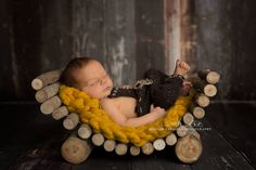 Newborn log lounger real wood prop not digital  MADE TO