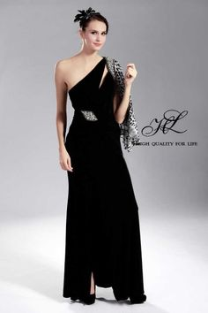 Floor length One-shoulder Black Chiffon A-line lf-00062  http://www.mydresspro.co.uk/191-isabella2012-new