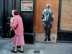 Samuel Beckett, stencil on boarded shop, Francis Street - Dublin 8 (Ireland)   wow, check this out