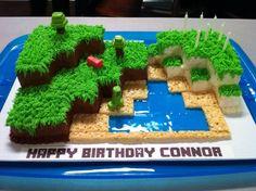 Minecraft world cake - grass and sea