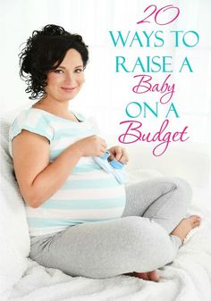 Young pregnant woman sitting on sofa and holding blue baby shoes in room
